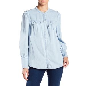 Joie Puffy Sleeve Chambray Aubrielle Top Small NWT